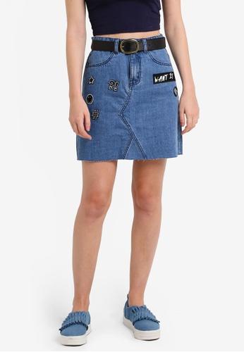 Something Borrowed blue Patch Raw Hem Denim Skirt AF469ZZB506F33GS_1