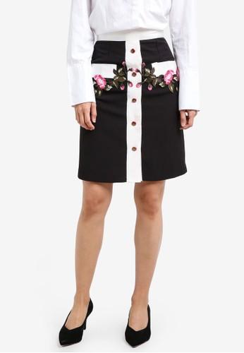 Megane black Garlyn Embroidery Skirt ME617AA0S0VNMY_1