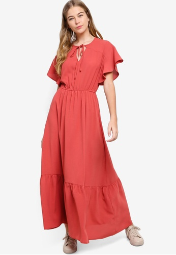 Something Borrowed pink Flutter Sleeves Wrap Maxi Dress 98202AAC999211GS_1