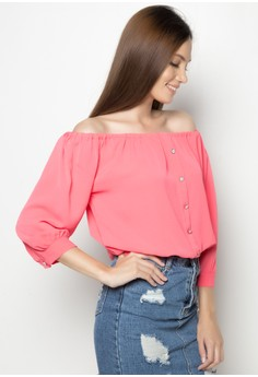 Boat Neck Long Sleeves Top