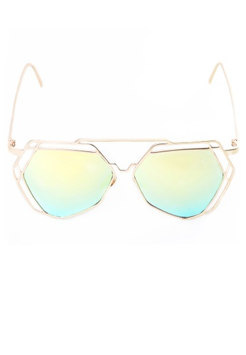 Amora Scarlett Arty Green Ombre Reflective Lens with Gold Frame Sunglasses AM058AC65GUOMY_1