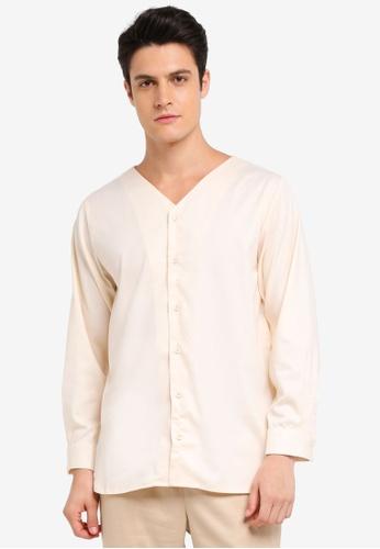 Zalia Homme 米褐色 V Neck Shirt ECF5CAA85B58E1GS_1