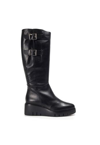 Shu Talk black WONDERS Leather Double Buckles Long Boots 498CCSH0C2AADBGS_1