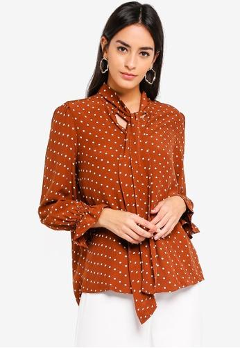 Vero Moda brown Dotty Tie 7/8 Top 3AC36AA50B1595GS_1