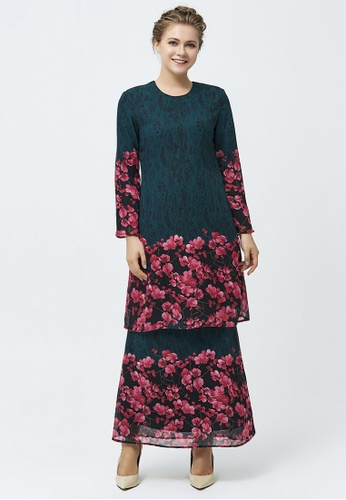 Era Maya pink and green Floraison Emerald Green Lace Prints Baju Kurung Chiffon 97527AA149F7F4GS_1
