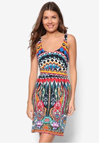 彩色圖案無esprit hong kong袖連身裙, 服飾, 夏日洋裝