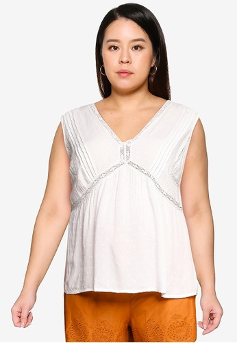 Violeta by MANGO white Plus Size Flowy Textured Top 02AA7AAA151AC9GS_1