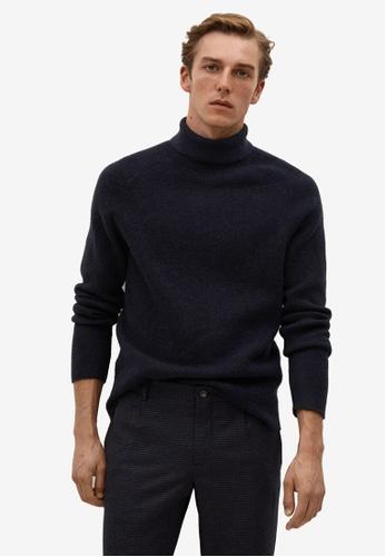 Mango Man blue Turtleneck Wool Sweater CF9D3AA0FE87ABGS_1