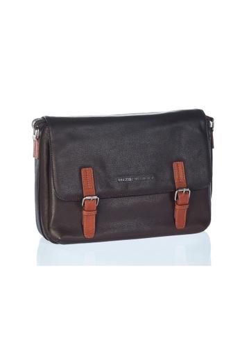 ENZODESIGN brown Urban Light Pebble Grained Leather Messenger EN357AC0FQQMSG_1