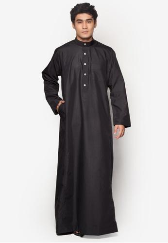 Amar Amran black Jubah A Regular Fit AM362AA21NBEMY_1