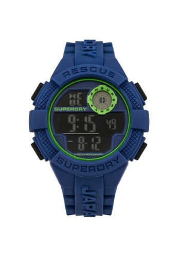 Superdry blue Superdry SYG193U Green and Blue Rubber Watch A73DAACC75C17EGS_1