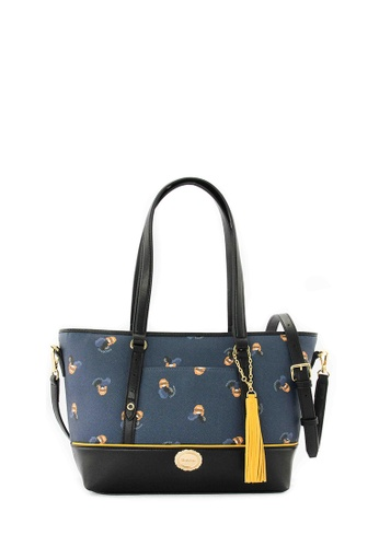 SEMBONIA blue Coated Canvas Trimmed Leather Tote Bag (Blue) SE598AC0RVUSMY_1