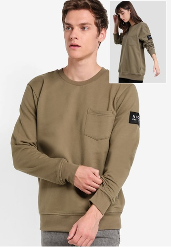 Nicce London brown Patch Pocket Sweater NI146AA42TGNMY_1