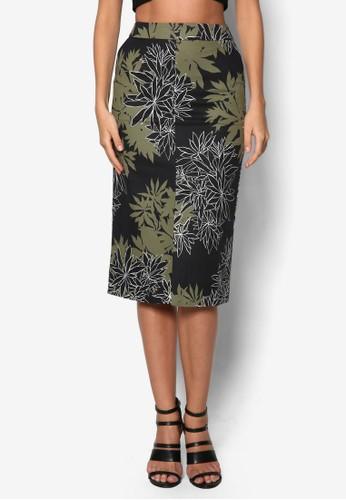 前開衩葉子印花短zalora開箱裙, 服飾, 及膝裙