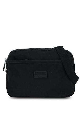Bagstationz black Crinkled Nylon Dual Zip Sling Bag D9AD9ACAFFA1A9GS_1