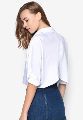 背部裹式短版長袖襯衫,esprit outlet hong kong 服飾, 上衣