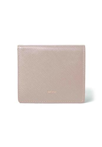 Crudo Leather Craft beige Lucidato Compact Wallet - Saffiano Nude 33F01ACAF6BCFFGS_1