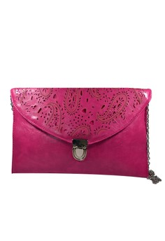 Marla Paisley Laser-cut Envelope Clutch in Pink