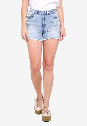 ONLY blue Mary Embroidered Shorts F988DAA40A90A6GS_1