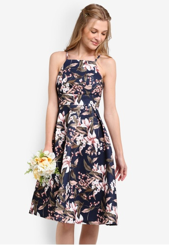 ZALORA multi and navy Bridesmaids Structured Fit & Flare Cami Dress AC354AA19E419DGS_1