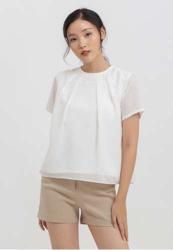 Cloth Inc white Pleat Neck Cotton Top in White FEF51AAA0BD7F4GS_1