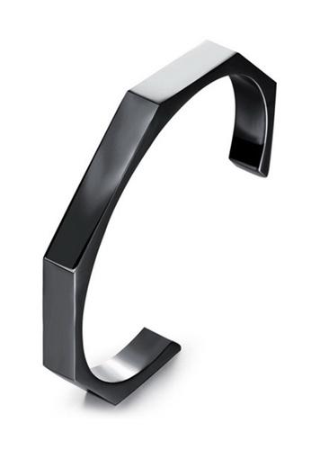YOUNIQ black YOUNIQ Titanium Black Steel Simple Octagon Nut Cuff Bangle for Men YO999AC0S8RBMY_1
