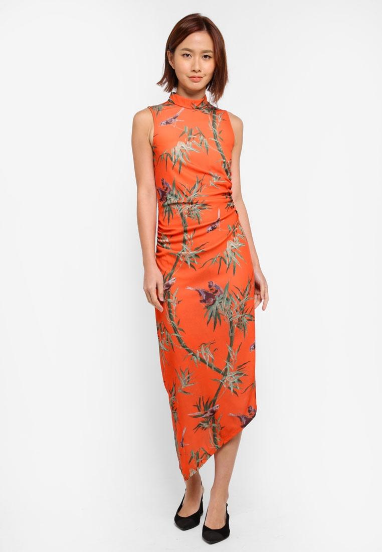 Dress Print Asymmetric Bird Orange WAREHOUSE TwPnBq