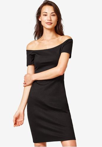 ESPRIT 黑色 針織短洋裝 8F523AA4F7A0F6GS_1