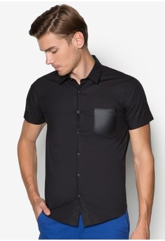 Short Sleeve Shirt With Back PU Patch On Stripes