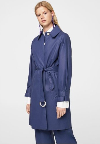 Mango blue Belt Coated Trench MA193AA0RBW2MY_1