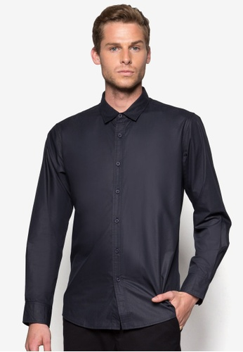 ZALORA 海軍藍色 Basic Long Sleeve Poplin Shirt ZA919AA64WTVSG_1