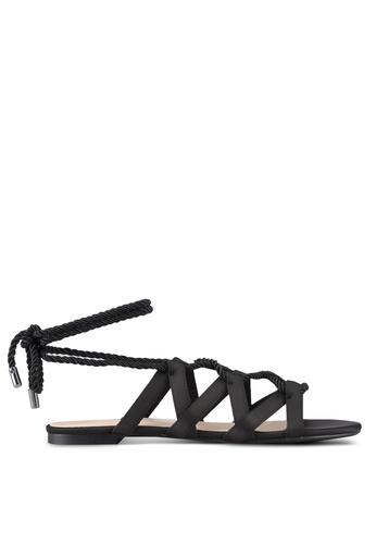 ZALORA black Laced-up Sandals 2F43FSHB27B215GS_1