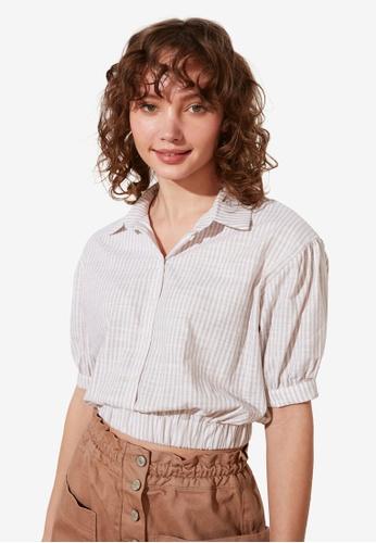 Trendyol beige Petite Elastic Waist Cropped Shirt 92E7DAA0EC1AB8GS_1