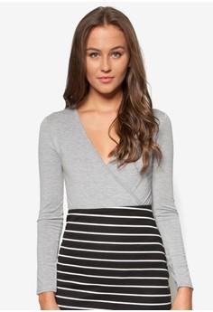 Petite Exclusive Wrap Jersey Bodysuit