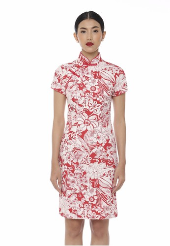 Mandarin Peony Cheongsam white and red Mandarin Peony FORTUNE Cheongsam Dress 0B695AAB561AFEGS_1