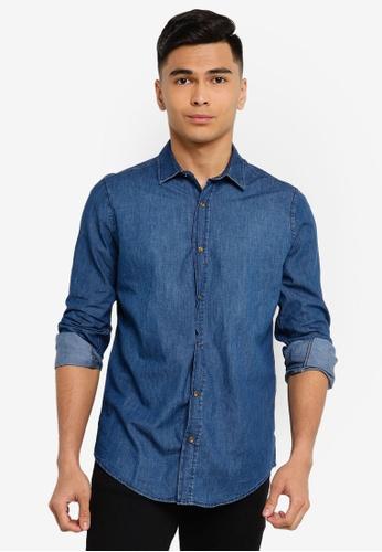 Trendyol navy Navy Slim Fit Basic Denim Shirt E2A54AAE41D4CEGS_1