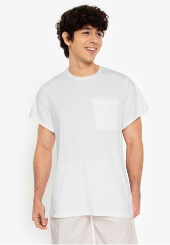 ZALORA BASICS white Strap Chest Pocket Tee 11DE8AACB2E36AGS_1