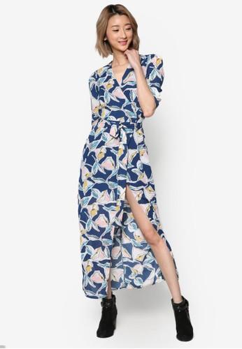 前裹飾印花開叉連esprit sg身長裙, 服飾, 洋裝