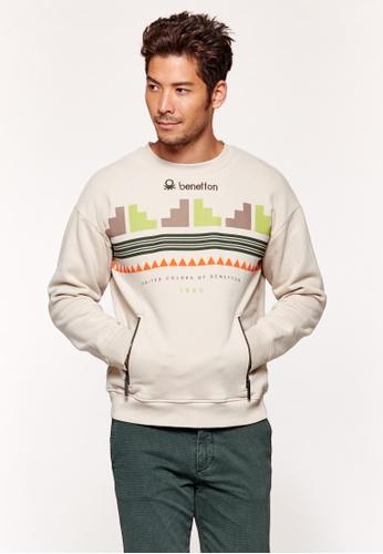 United Colors of Benetton grey Brushed Sweatshirt with Print AC7EAAA9873383GS_1