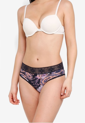7d503eb315 Cotton On Body multi and navy High Waist Lace Trim Cheeky Briefs  6DC58USF720477GS 1