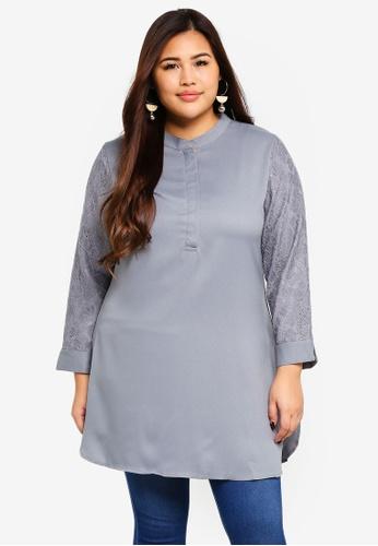 BYN grey Plus Size Muslimah Blouse D96DFAA39483B2GS_1