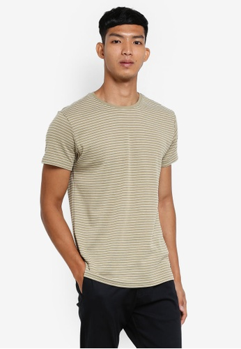 !Solid green Nimat Striped T-Shirt 5BF68AAED6AD77GS_1