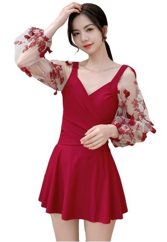 A-IN GIRLS red Elegant Gauze Flower One-Piece Swimsuit 443F9USEDC7168GS_1