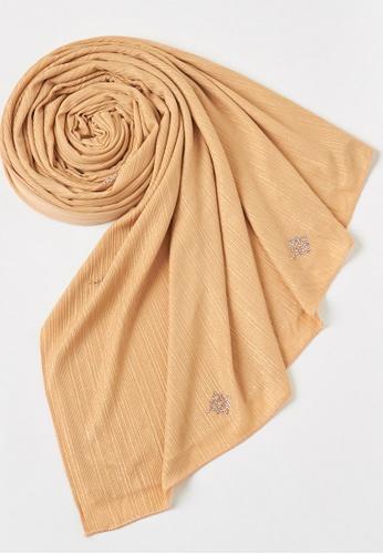 KASHKHA gold Shimmer stretch jersey scarf-GOLD ADAF3AA724D161GS_1