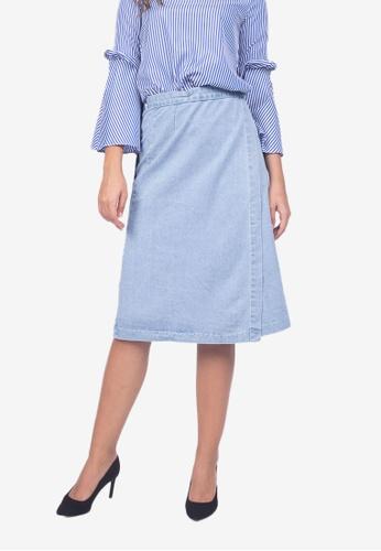 596d44af6f0f Shop Caoros Denim Wrap Skirt Online on ZALORA Philippines