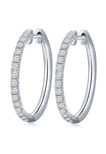 MaBelle silver 18K/750 White Color Gold Diamond Hoop Earrings 8F8A4ACCE257B0GS_1