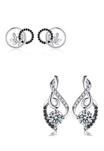 A-Excellence black Premium Elegant Black Silver Earring Set 5154FACA86BD40GS_1