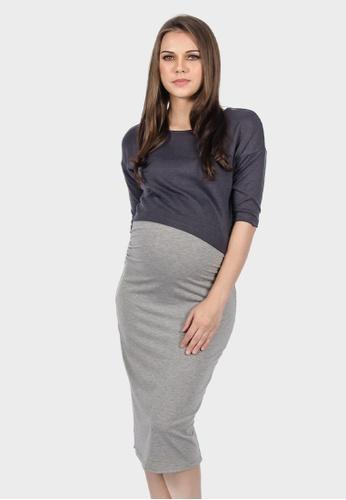 14f3b2c7b0 Buy 9months Grey Two Pieces Nursing Dress Online
