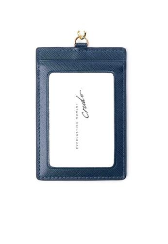 Crudo Leather Craft blue Senz'altro Leather Badge Holder - Saffiano Blue 2ACB7AC941E97AGS_1