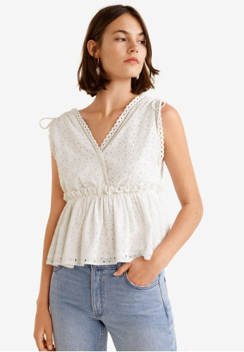 Mango white Openwork Cotton Top 67E17AA576EA9EGS_1